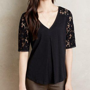 Anthropologie Meadow Rue Black Brushed Lace Tee L